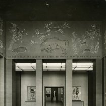 Image of Black and white photos of miscellaneuos exhibits at the German Hygiene Museum from the 1930's. Photos include close-ups of panels, wide shots of rooms and halls, and people participating in interactive exhibits.