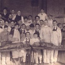 Image of Group of men and one woman with two cadavers.