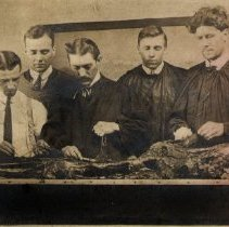 Image of Six men standing over dissected cadaver, skeleton handing on stand.