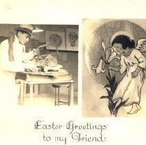 Image of Easter greetings card with photo of a man dissecting a cadaver.