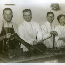 Image of Three men and one woman standing behind a table with dissected body parts and bones..