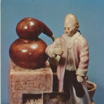Image of Ludwigsburg porcelain group of the alchemist with his furnace