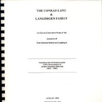 Image of The Conrad Lang & Langørgen family : an eleven generation study of the Ancestors of Arne Konrad Selmersen Langørgen - Lang, Marvin and Louise