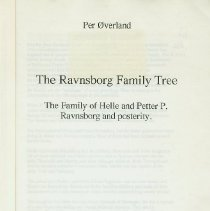 Image of The Ravnsborg Family Tree - The family of Helle and Petter P. Ravensborg and posterity. - Øverland, Per