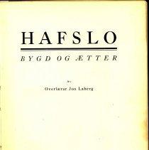 Image of Hafslo : Bygd og Ætter. - Laberg, Jon