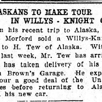 Image of Alaskans to make tour in Willys-Knight car