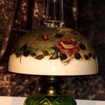 Image of Oil Lamp with Painted Shade