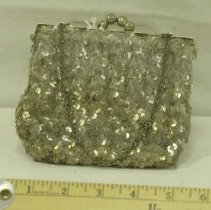 Image of 1940s-50s Silver Sequinned Evening Purse