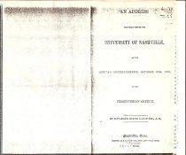 Image of 1839 Univ. of Nashville Commencement Address