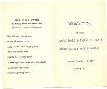Image of Program for Ball Hall Dedication - page 1