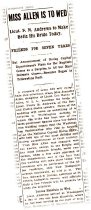 Image of Andrews Wedding Announcement Washington Post March 16, 1914
