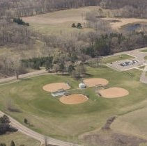 Image of P2017.020.188 -  Aerial view White Bear Lake - Township -  Otter Lake School and athletic fields