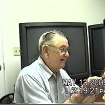 """Image of  Glen Riley, Short Film and Oral History Interview. - Short film""""Look Me Over,"""" 5min 18 sec.   An Oral History interview of Glen Riley that the film was based on.  Sergeant, USMC WWII, Pacific Theater. Peleliu  Part of the 2005 Stories of Service Program. The names of the two student film makers were not listed in the film's credits and are currently unknown.   Not a good candidate to be transcribed."""