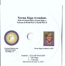Image of Harry E. Kipp & Norma Kipp  Tape #1 of 2 - Norma Kipp-Avendano:  Corresponded with future husband (Marine in the Pacific) for 22 months overseas, and was then married him 2 days after he came home, the first time they actually met in person.