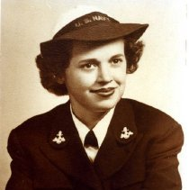 """Image of Malvina """"Pat"""" Mounts, Aviation Machinist Mate 1st Class, USNR, WAVES, WWII - A Personal Narrative of Military Service - Oral history of Malvina Kathleen Mounts served in the USNR V10 WAVES program in WWII.  Attended Hunter College Training Center, Naval Air Technical Training at Norman OK, stationed at NAS Alameda, California.  Aviation Machinist Mate 1/c, worked on engine overhauls.  Contains two mini-DV tapes, Video DVD, CD data disc with trainscript, and veteran & interviewer releases."""