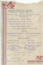 Image of Typewritten menu for the Wequetonsing Hotel dated, Sunday, July 26, 1942