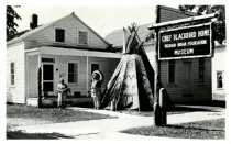 Image of Chief Blackbird Home, Michigan Indian Foundation, Museum,July 8, 1954 from