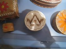 Image of White quill box with teepee design.