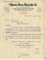 Image of Letter to H.L. Metz, from the Hooven, Omens, Renschler Company.