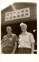 Image of Paul Stanley and Bob wright in front of Ottawa Lumber.