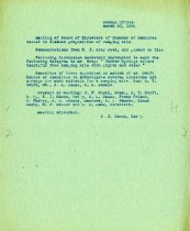 Image of Minutes for the March 23, 1920 meeting of the HS Chamber of Commerce
