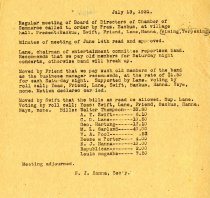 Image of Minutes for the July 13, 1921 meeting of the HS Chamber of Commerce
