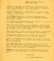Image of Minutes for the October 26, 1921 meeting of the Board of Directors