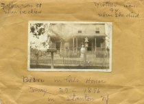Image of Folder 4 - Woman standing in front of Hunt home in Stanton, NJ