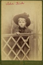 Image of Folder 22 - Ida Fink standing behind gate, formal portrait, ca. 1893