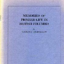 Image of Book - Memories of Pioneer Life in British Columbia