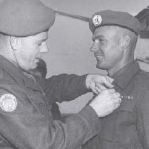 Image of Print, Photographic - Sapper Stephen Dominick receives UN medal