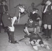 Image of Print, Photographic - Boy scouts practising first aid