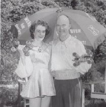 Image of Print, Photographic - Ivy and Ted Shaw with roller skates