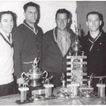 Image of Print, Photographic - Men with curling trophies