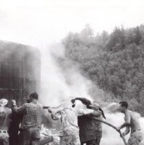 Image of Print, Photographic - Barn fire