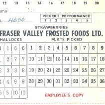 Image of Ticket - Picker's Performance Ticket from Fraser Valley Frosted Foods
