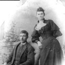 Image of Print, Photographic - Formal wedding portrait of Rufus James Jim and Sarah Ann Muirhead