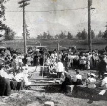 Image of Print, Photographic - View of group gathered to watch the laying of the cornerstone for the new Chilliwack Methodist church.