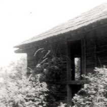 Image of Print, Photographic - Partial view of the former William Hall family log house.