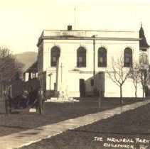 Image of Print, Photographic - View of Chilliwack War Memorial and Memorial Park behind Chilliwack City Hall