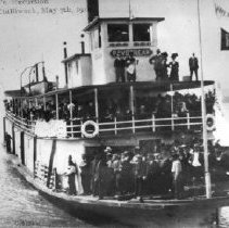 Image of Print, Photographic - Sternwheeler S.S. Paystreak approaching Chilliwack or Minto Landing, on a F.J. Hart & Co. special excursion from New Westminster.
