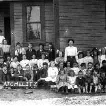 Image of Print, Photographic - Group portrait of students and teachers in front of Atchelitz School