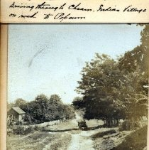 Image of Print, Photographic - View of wagon driving on road to Popcum through Cheam Indian village