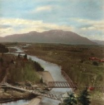 Image of Print, Photographic - Overhead view of two bridges across Vedder River