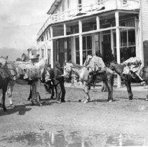 Image of Print, Photographic - Loaded pack horse train at five corners, leaving for mines in Mt. Baker district