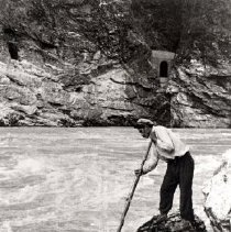 Image of Print, Photographic - Portrait of Johnny Victor dip net fishing in the Fraser River at Yale