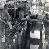 Image of Print, Photographic - View of trench with cribbing for construction of first sewer line.
