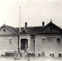 Image of Print, Photographic - Front view of the first Chilliwack High School on Young Road North