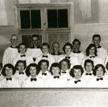 Image of Print, Photographic - Group portrait of the junior choir at Cultus Lake Memorial  Church