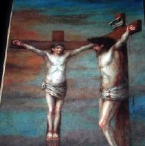 Image of Painting - Painting of the crucifixion of Christ and Barabbas